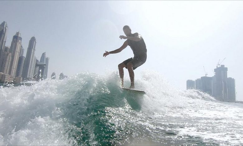 On top of the waves in Dubai with surfing