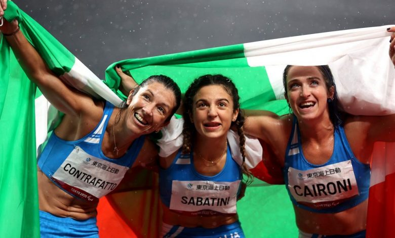 The all-Italian podium in the 100m T63 at the Tokyo Paralympic Games